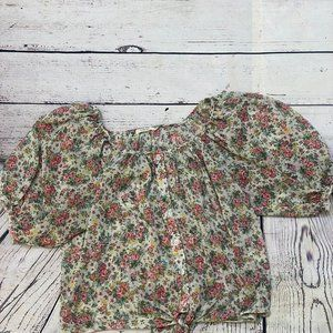 Poetry Sheer Floral shirts size small cropped butt